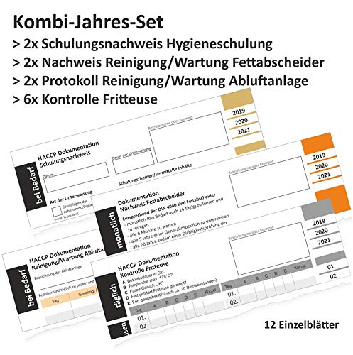 Combi-jaarreset: trainingsbewijs hygiënetraining + reiniging friteuse (vetwissel) + reiniging afvoerluchtinstallatie (vetfilter) + reiniging (legering) vetafscheider HACCP documentatie.