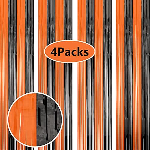 XJLANTTE Paquete de 4 Cortinas metálicas con Flecos y serpentinas Brillantes para decoración de Puertas y Ventanas para cumpleaños, Bodas, Suministros para Fiestas (Negro Naranja)