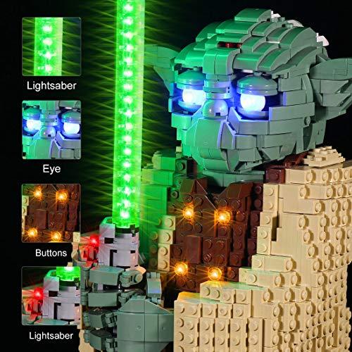 LYCH Juego de iluminación LED para LEGO Star Wars Yoda, iluminación compatible con LEGO 75255, sin set Lego
