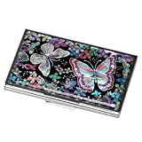 Mother of Pearl Womens Business Credit Name Id Card Case Cash Metal Stainless Steel Engraved Slim Money Wallet with Butterfly Design