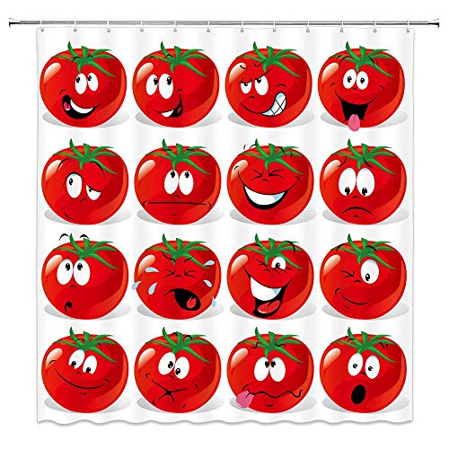 EdCott Red Tomatenduschvorhang Weißer Hintergr& Tomatengemüse Thema Badezimmer Duschvorhang Cartoon Ausdruck Niedliche Tomate Duschvorhang Dekoration Kinderzimmer Exklusiv 72X72inch