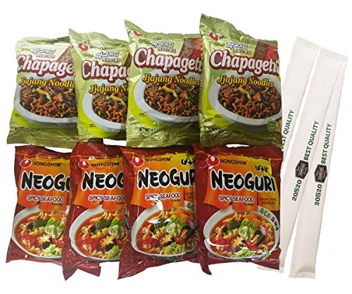 20S20 Chapaguri Set - Nongshim Chappagetti Chajang-soybean saurse and Neoguri Noodles-Seafood-flavored sauces -8 bags (with 20S20 Chopstick 3 pack)