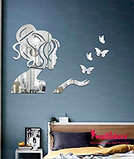 Wall1ders - Angel & 4 Butterflies Silver 3D Acrylic Stickers, 3D Acrylic Mirror Wall Stickers for Living Room, Hall, Bed R...