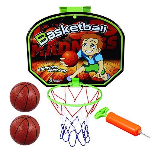 Toyvian Kinder-Basketballkorb Und Backboard-Set Indoor-Backboard 17X 13 4 Zoll mit Netz 2 Bälle Und Ballpumpe Einfache Montage Indoor-Outdoor-Spaß für Kinder