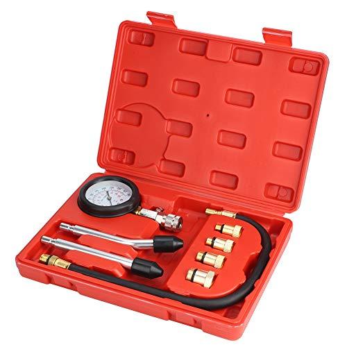 油圧計-8Pcsユニバーサルカー油圧ゲージシステムエンジン圧縮テスターツール