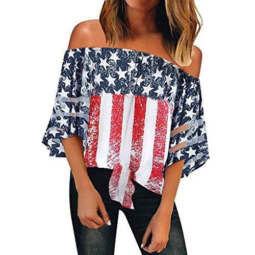YOcheerful Women American Tops Off Shoulder Mesh Panel Blouse 3/4 Bell Sleeve Top 4th of July Shirts(Red, L)