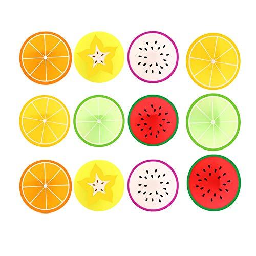 Creativa Fruta Posavasos Silicona Forma Fruta Almohadillas Aislamiento De Gelatina Posavasos Con Forma Fruta Aislamiento La Forma del Fruto Creativo Coaster Cojín de Copa Creativo en Forma 12pcs