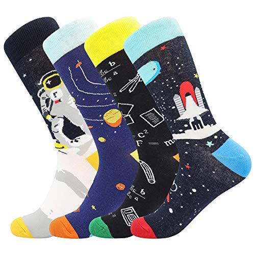 BONANGEL Coloridos Calcetines Para Hombres,Calcetines de Vestir Divertidos, Calcetines de Oficina de Algodón con Estampados Divertidos y Elegantes de Fantasía, Locos Geniales (39-46, 4 Pairs-Rocket)