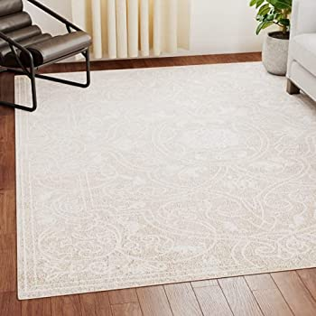 EdenbrookBelmont CollectionVintageOrientalCream and BeigeArea Rug - 8 mm Low Pile Perfect for High Traffic Areas