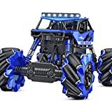 NQD Remote Control Car, Off Road Monster Truck, 4WD All Terrain Climb Truck, 1:16 360° Rotation Drift Stunt Rechargeable Electric Vehicle with Head Lights (Blue)