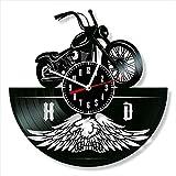 Cumpleaños Harley Davidson pared del vinilo del disco de vinilo del reloj reloj de pared retro del...