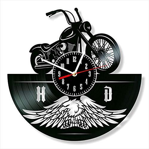 YYIFAN Wanduhr Aus Vinyl Schwarz Schallplattenuhr Harley Davidson, 30cm Modernes Design-Uhr, Wohnzimmer Schlafzimmer Wand Deko, Kinder und Freunde