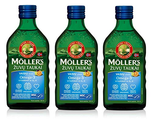Moller Omega 3 Liver Oil Nordic Omega 3 6 9 Dietary Supplement with EPA, DHA, Vitamin A, D, E Superior Taste Award High Purity 165 Years Old Brand Fruit Flavour 250 ml x 3 Bottles
