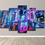 5 Piece Canvas Wall Art Colorful Neon City for Living Room Decorations Prints Abstract Modern Home Decor The Room Stretched and Framed Ready to Hang Artwork