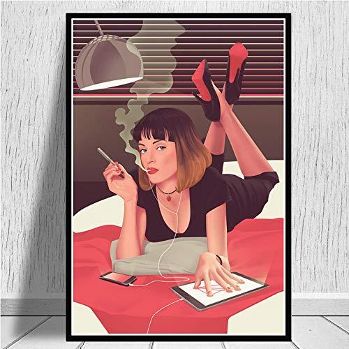 Aishangjia Pulp Fiction Quentin Tarantino Carteles e Impresiones Pintura en Lienzo Cuadro de Arte de Pared Película Vintage Decoración Decorativa para el hogar 40x50 cm J-1575