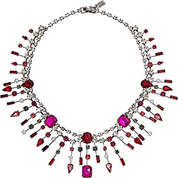 Steve Madden 16 Inch Red and Pink Rhinestone Cluster Bib Gunmetal-Tone Statement Necklace for Women