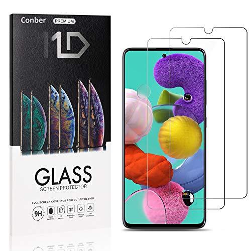 [2 Stück] Conber Panzerglas Schutzfolie für Samsung Galaxy A51, [9H Festigkeit][Anti-Kratzen][Anti-Öl][Anti-Bläschen] Panzerglasfolie Bildschirmschutz für Samsung Galaxy A51
