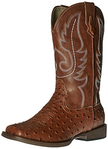 Roper Bumps Square Toe Ostrich Boot (Infant/Toddler/Little Kid/Big Kid), Tan, 13 M US Little Kid