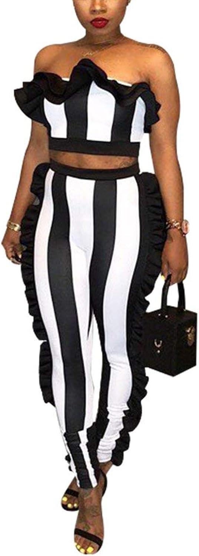 Dreamparis Women's Sexy Stripe 2 Piece Outfits Ruffle Jumpsuit Tube Top + Skinny Pants Set