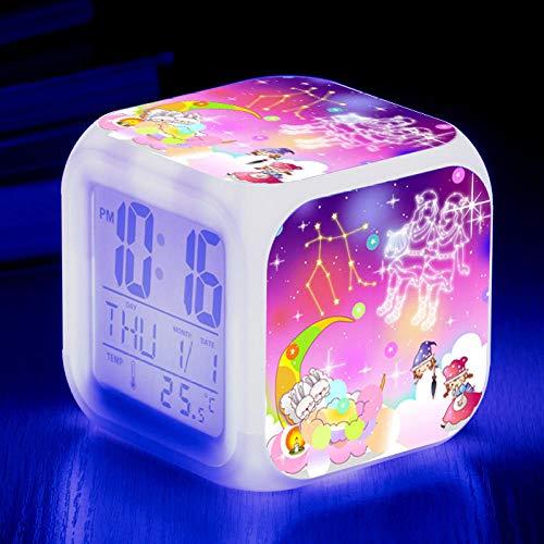 HHCYY 12 Reloj Despertador Para Niños Constellation Gemini Wake Up Light Despertador Luz Reloj Despertador Cubo 7 Cambio De Color Reloj Digital Alarm Clock(A55)