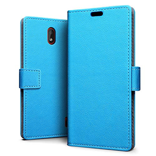 SLEO Custodia Nokia 1 Plus, [Premium Portafoglio Protettiva] Wallet Cover Nokia 1 Plus, 2-Scheda Slot, [PU Pelle] Morbido Impermeabile Antipolvere Protezione - Celeste