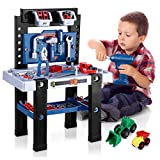 iBaseToy Kids Tool Bench, 91 Pieces Toy Workbench with Toy Drill, Construction Toy Vehicles and Storage Space, Toddler Toy Set with Tool Accessories Gifts for Boys