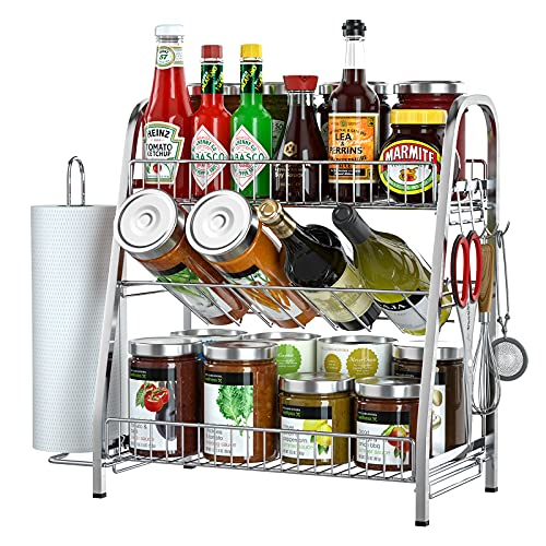 Spice Rack Organizer for Cabinet Countertop, 3-Tier Seasoning Organizer with Paper Towel Holder & 3 Hooks, SUS304 Stainless Steel Counter Storage Shelf with Guardrail for Kitchen, Bathroom, Office