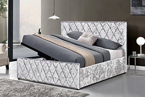 Cherry Tree Furniture HAYDEN Crushed Velvet Side Lift Storage Ottoman Bed Frame (Silver, 4FT6 Double)