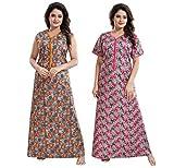 YKI® Women's / Girls Cotton Fabric Beautiful Print Nighty / Nightgown / Nightwear /Nightdress with Pocket ( Pack of 2) Combo Pack (X-Large ( Bust Size 40') Length-54, Rnd-Mustard+Pink-1879)
