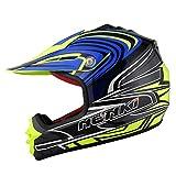 NENKI casco motocross bambino NK-303, ECE Approvato (Black Yellow Blue, XXS(51-52CM))