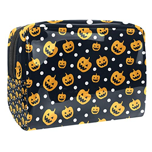 Pumpkin & White Dots-01 PVC Handle Portable Travel Luggage Pouch 7.3in x 3in x 5.1in Travel Makeup Bag Cosmetic Bag Make up Case Organizer for Women and Girls