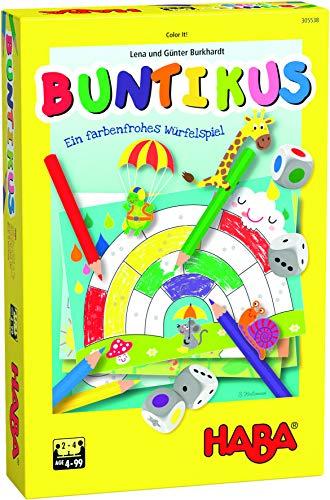 HABA 305538 Buntikus, souvención a Partir de 4 años, para 2 – 4 Jugadores, duración 10 Minutos, Dados y Juego de Pintura en uno, Idea de Regalo para Llevar, Jugar y Pintar