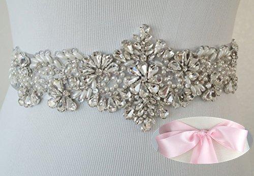 QueenDream Pink bridal belt crystal belts wedding sash belt rhinestone bridal sash vintage bridal sash for eventing dresses