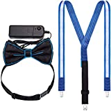 Light up Suspenders Blue LED Suspenders Bow Tie and Tie for Christmas Costume Party Music Festival Easter Costume Party Supply