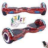 Wind Way 6.5 ' Hoverboard Bluetooth - Moteur 700W - Vitesse Max 15KM/H - Batterie 36V - Auto Équilibré - Roues LED - Gyropode pour Enfants Adultes - Skateboard Electrique Pas Cher - Rouge Flamme