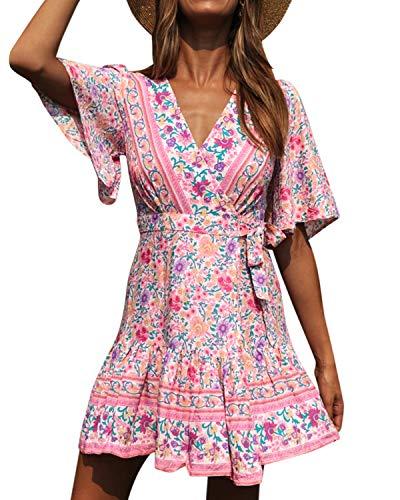 Kidsform Kleider Damen Sommer Boho Kleid Sexy Sommerkleid Für Damen Strandkleid V-Ausschnitt Blumen Tunika Kurzarm T-Shirtkleid Casual U-Rosa S