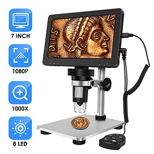 ANNLOV 7 inch LCD Digital Microscope 50-1000X USB Maginfication Handheld Electronic 12MP Coin Microscope Video Camera with 8 Adjustable LED Lights for Adults SDM PCB Soldering Kids Outside Use
