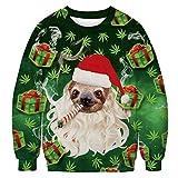 U LOOK UGLY TODAY Sweat-Shirt Laid de Noël Unisexe Hommes Femmes Impression 3D Pull Santa Pull alpaga Renne Licorne à Capuche et col Rond, Grande Taille