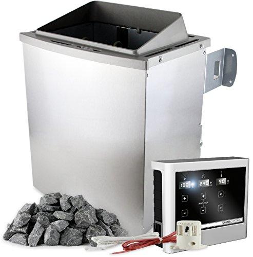 Saunaofen 9 kW mit externer Steuerung EASY mit Touch-Display inkl. 20 kg Saunasteine Olivin-Diabas...
