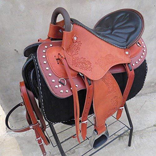 GCSEY Set da Sella per Cavalli, Set Sella da Cavallo, Sella Western da Equitazione Sella Set Completo Sella Endurance Sella in Pura Pelle,Rosso