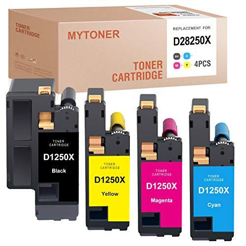 MYTONER Compatible Toner Cartridge Replacement for Dell 1250 810WH C5GC3 XMX5D WM2JC for C1760NW C1765NFW 1250C 1355CNW 1355CN C1765NF 1350CNW (Black Cyan Magenta Yellow, 4 Pack)