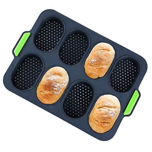 Bandeja para Hornear Baguette, Mini Lata de Silicona para Pan Molde para Pan Francés Antiadherente Molde para Hornear Perforado para la Cocina Casera Pan Muffin Pasteles