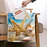 ZFRXIGN Beach Theme Remote Control Holder Starfish Seashell Couch Recliner Chair Armrest Organizer Non-Slip with 5 Pockets Armchair Caddy for Smart Phone, Book, Magazines