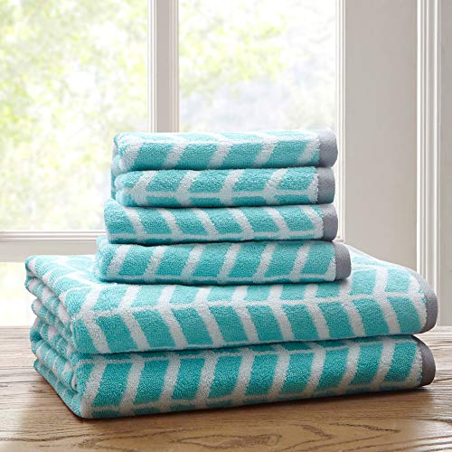 Intelligent Design Nadia Cotton Bathroom Towels, Jacquard Highly Absorbent Bath Towel Set, 6-Piece Include 2 Bath Towels & 4 Hand Towels,Teal Grey