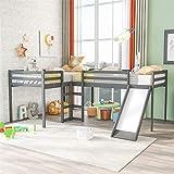 L-Shape Loft Beds with Slide, Twin Loft Bed Frame Corner Bunk Bed for 2 Kids, Wood Gray Loft Bed for Girls Boys Teens