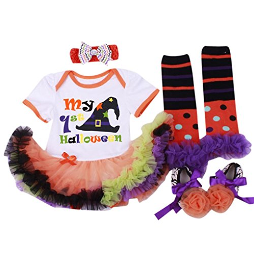 kingko® 4pcs / Set Vêtements Robe Halloween Baby Girl Dress Prewalker Hairband Chaussettes Floral Romper Bodysuit (0-3 Mois)