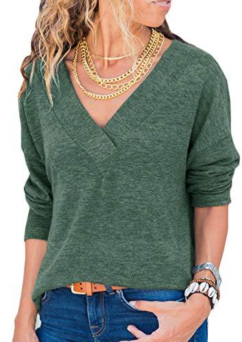 Generic Damen Sweatshirt Langarmshirt V-Ausschnitt Pullover Casual Sport Shirt Oberteile mit Tie Back Neu-grün XXL