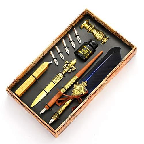 Pluma de caligrafía , Vintage Quill Feather Dip Pen Fuente Fuente de escritura 5 NIBS Sello de cera Caja de regalo Caligrafía Suministros Escolares para principiantes en caligrafía ( Color : RB )