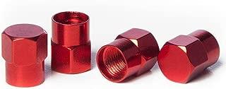 Circuit Performance VC3 Series Red Aluminum Valve Stem Caps (Set of 4)
