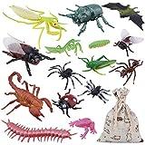 OOTSR 15 Stück groß Plastik Realistische Wanzen, gefälschte Kakerlaken, Spinnen, Würmer und...